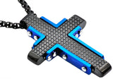 Mens Black And Blue Plated Stainless Steel Cross Pendant - Blackjack Jewelry