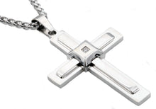 Load image into Gallery viewer, Mens Stainless Steel Cross Pendant With Cubic Zirconia - Blackjack Jewelry