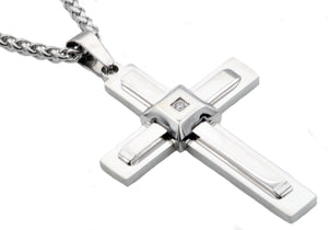 Mens Stainless Steel Cross Pendant With Cubic Zirconia - Blackjack Jewelry