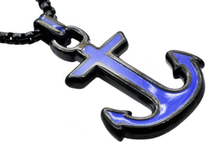 Mens Black And Blue Plated Stainless Steel Anchor Pendant Necklace - Blackjack Jewelry