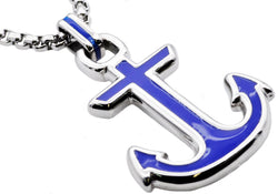 Mens Blue Plated Stainless Steel Anchor Pendant