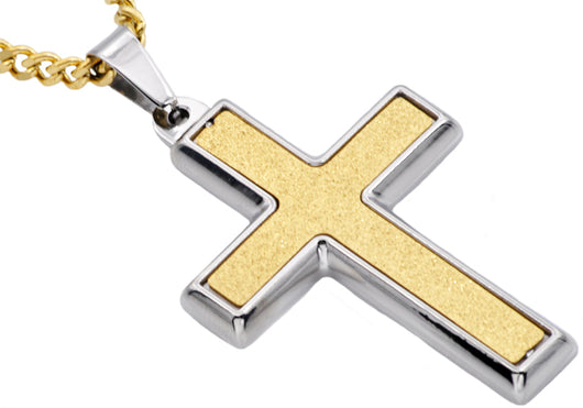 Mens Sandblasted Gold Plated Stainless Steel Cross Pendant - Blackjack Jewelry