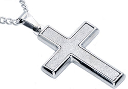 Mens Sandblasted Stainless Steel Cross Pendant - Blackjack Jewelry