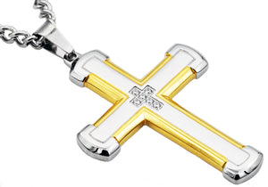 Mens Gold Stainless Steel Cross Pendant With Cubic Zirconia - Blackjack Jewelry