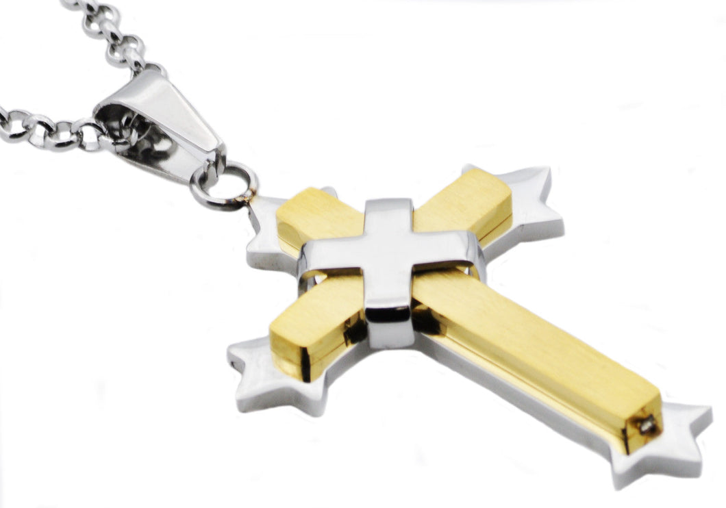Mens Two Tone Gold Stainless Steel Cross Pendant Necklace - Blackjack Jewelry