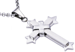 Mens Stainless Steel Cross Pendant Necklace - Blackjack Jewelry