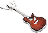 Mens Wood Inlaid Stainless Steel Guitar Pendant