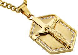 Mens Gold Plated Stainless Steel Cross Pendant With Cubic Zirconia - Blackjack Jewelry