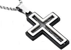 Mens Black Plated Stainless Steel Scratched Cross Pendant - Blackjack Jewelry