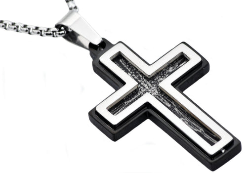 Mens Black Stainless Steel Scratched Cross Pendant - Blackjack Jewelry