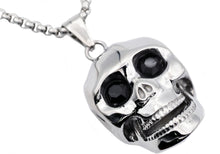 Load image into Gallery viewer, Mens Stainless Steel Skull Pendant With Black Cubic Zirconia - Blackjack Jewelry