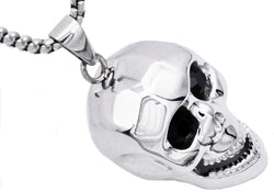 Mens Stainless Steel Skull Pendant With Black Cubic Zirconia