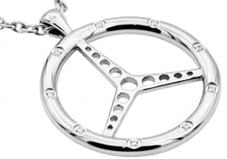 Mens Stainless Steel Steering Wheel Pendant With Cubic Zirconia - Blackjack Jewelry