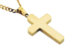Load image into Gallery viewer, Mens Gold Stainless Steel Cross Pendant - Blackjack Jewelry