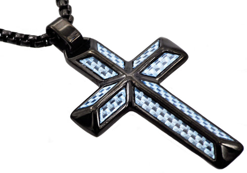 Mens Blue Carbon Fiber Black Plated Stainless Steel Cross Pendant - Blackjack Jewelry