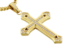 Load image into Gallery viewer, Mens Gold Plated Stainless Steel Cross Pendant With Cubic Zirconia - Blackjack Jewelry