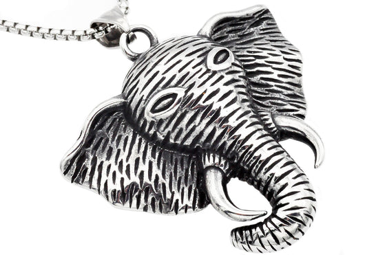 Mens Stainless Steel Elephant Pendant - Blackjack Jewelry