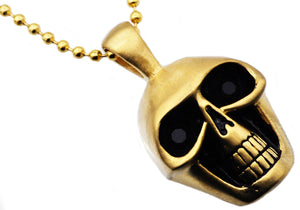 Mens Matte Finish Gold Stainless Steel Skull Pendant Necklace With Black Cubic Zirconia Eyes - Blackjack Jewelry