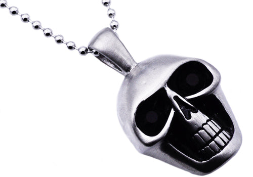 Mens Matte Finish Stainless Steel Skull Pendant Necklace With Black Cubic Zirconia Eyes - Blackjack Jewelry