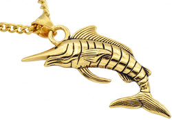 Mens Gold Plated Stainless Steel Sword Fish Pendant - Blackjack Jewelry