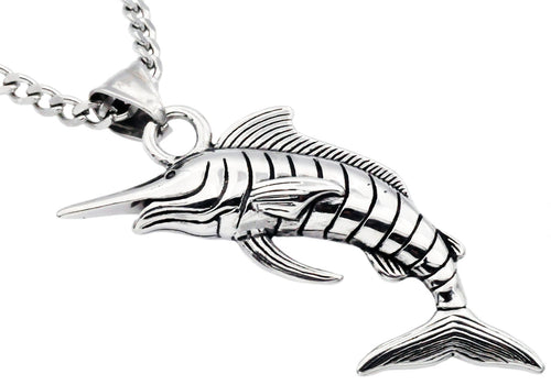 Mens Stainless Steel Sword Fish Pendant - Blackjack Jewelry