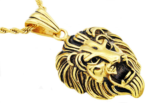 Mens Gold Stainless Steel Lion Pendant - Blackjack Jewelry
