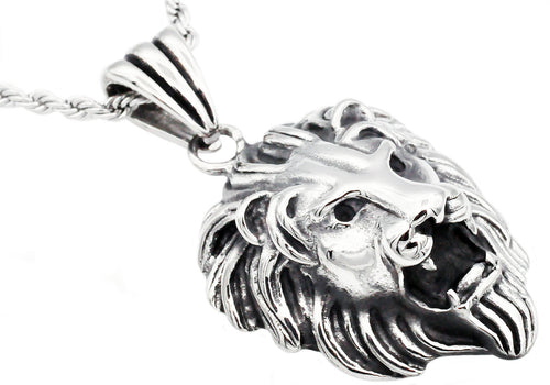 Mens Stainless Steel Lion Pendant - Blackjack Jewelry