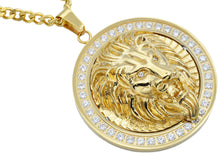 Load image into Gallery viewer, Mens Gold Stainless Steel Lion Pendant With Cubic Zirconia - Blackjack Jewelry