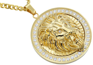 Mens Gold Stainless Steel Lion Pendant With Cubic Zirconia - Blackjack Jewelry