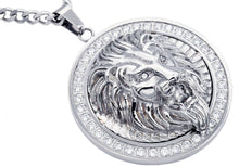Load image into Gallery viewer, Mens Stainless Steel Lion Pendant With Cubic Zirconia - Blackjack Jewelry