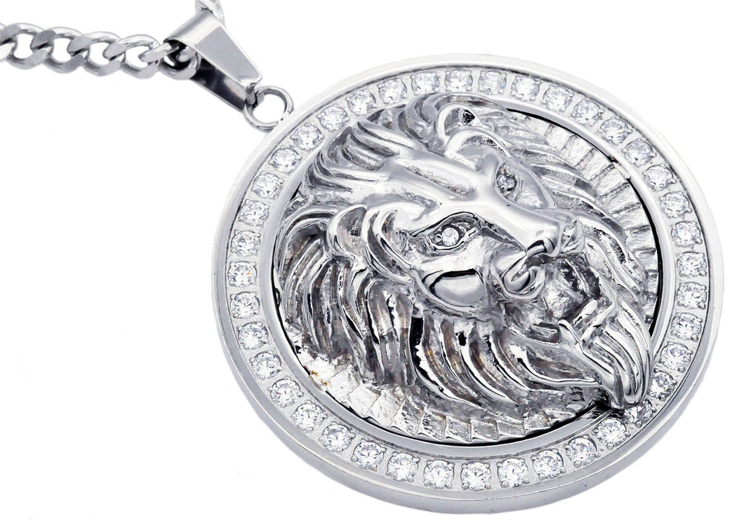 Mens Stainless Steel Lion Pendant With Cubic Zirconia - Blackjack Jewelry