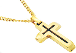 "Mens Gold Stainless Steel Cross Pendant With 24"" Curb Chain - Blackjack Jewelry"