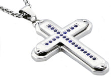 Load image into Gallery viewer, Mens Stainless Steel Cross Pendant Necklace With Blue Cubic Zirconia - Blackjack Jewelry