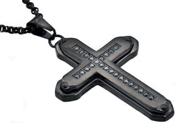 Mens Black Plated Stainless Steel Cross Pendant With Black Cubic Zirconia - Blackjack Jewelry