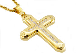 Mens Gold Plated Stainless Steel Cross Pendant - Blackjack Jewelry