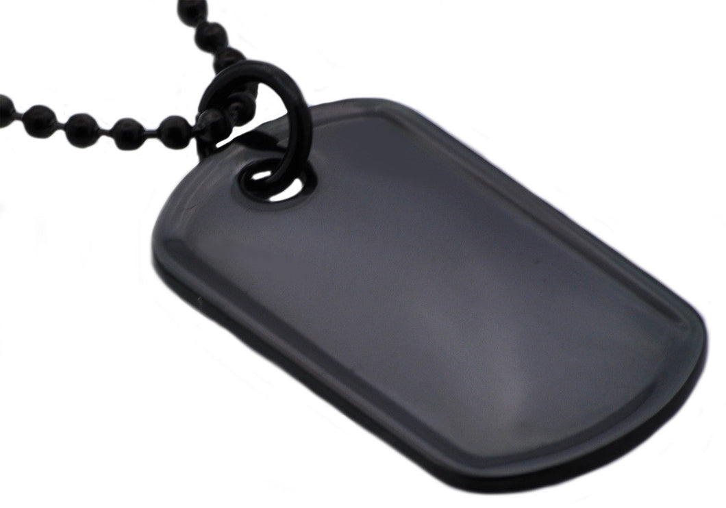 Mens Black Plated Stainless Steel Engravable Dog Tag  Pendant Necklace - Blackjack Jewelry