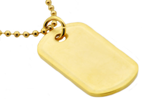 Mens Gold Plated Stainless Steel Engravable Dog Tag  Pendant Necklace - Blackjack Jewelry