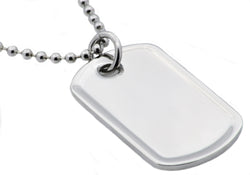 Mens Matte Finish Stainless Steel Dog Tag Pendant