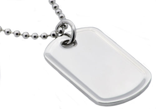 Mens Polished Stainless Steel Engravable Dog Tag Pendant - Blackjack Jewelry