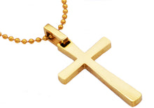 Load image into Gallery viewer, Mens Gold Plated Stainless Steel Small Cross Pendant Necklace - Blackjack Jewelry