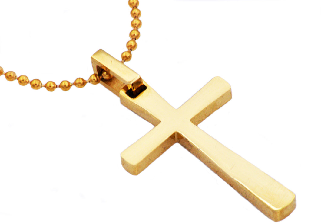 Mens Gold Plated Stainless Steel Small Cross Pendant Necklace - Blackjack Jewelry