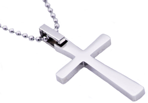 Mens Polished Stainless Steel Small Cross Pendant Necklace - Blackjack Jewelry