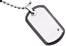 Load image into Gallery viewer, Mens Black Plated Stainless Steel Dog Tag Pendant Necklace With Black Cubic Zirconia - Blackjack Jewelry