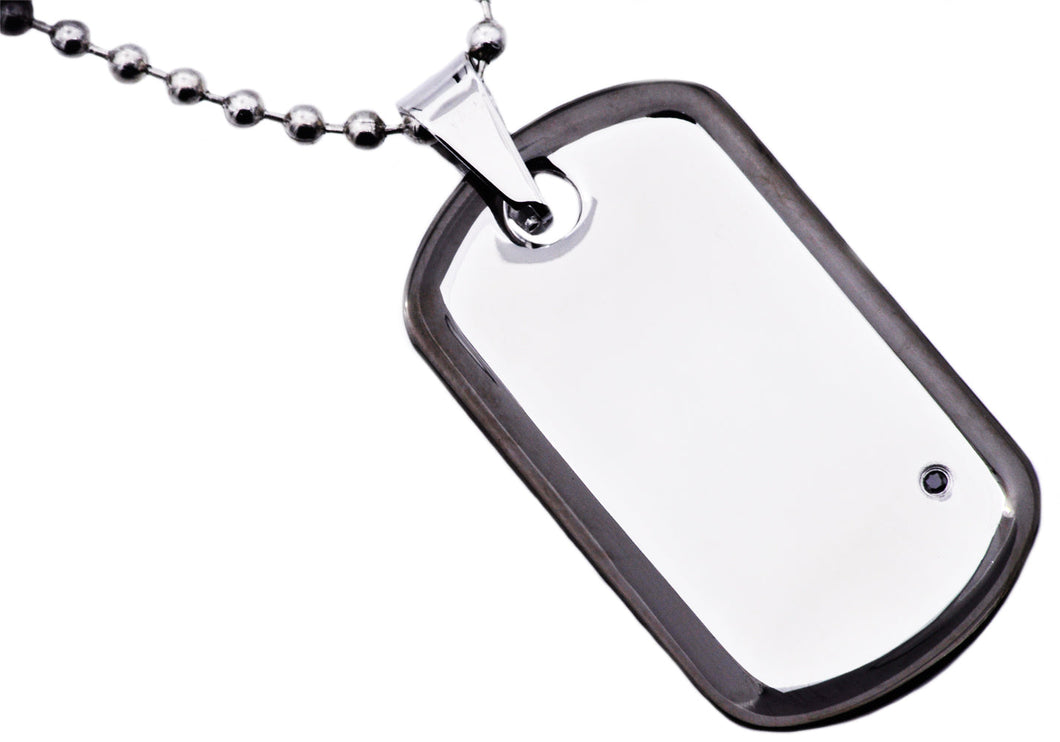 Mens Black Plated Stainless Steel Dog Tag Pendant Necklace With Black Cubic Zirconia - Blackjack Jewelry