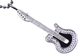 Mens Stainless Steel Guitar Pendant With Cubic Zirconia - Blackjack Jewelry