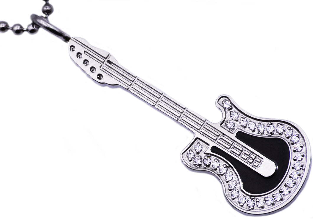 Mens Stainless Steel Guitar Pendant Necklace With Cubic Zirconia - Blackjack Jewelry