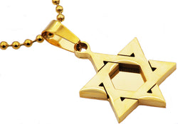Mens Gold Plated Stainless Steel Star Of David Pendant - Blackjack Jewelry