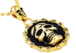 Mens Gold Plated Stainless Steel Skull Pendant