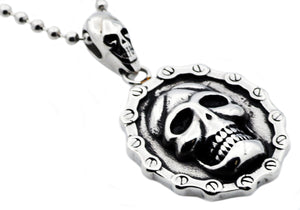 Mens Stainless Steel Biker Skull Pendant Necklace - Blackjack Jewelry