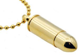 Mens Gold Plated Stainless Steel Bullet Pendant Necklace - Blackjack Jewelry